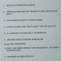 WRITING ADVICE: THE GOOD, BAD & UGLY