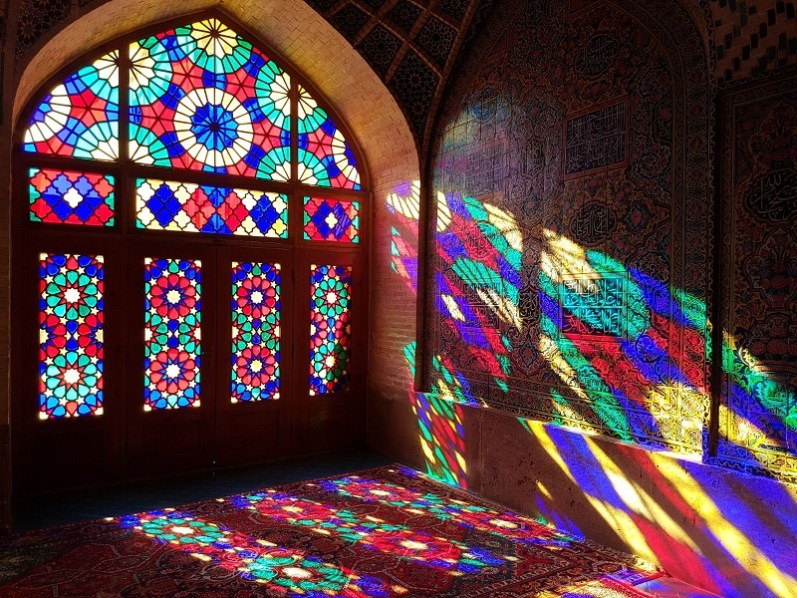 Nasir al-Mulk Mosque Iran Colourful stained windows glass sunrise
