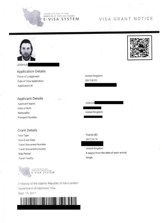 iran tourist visa authorisation code