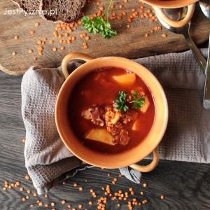 Zupa z soczewicy z ziemniakami na boczku