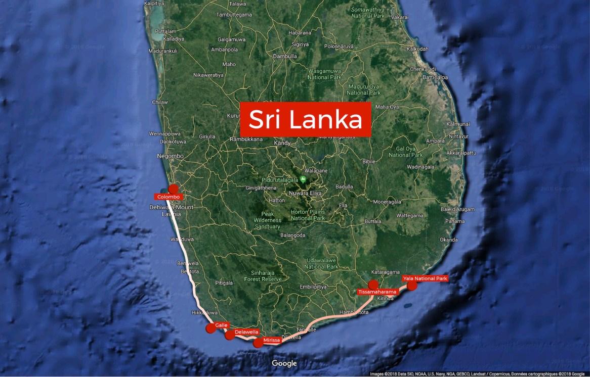Sri Lanka: our travel route