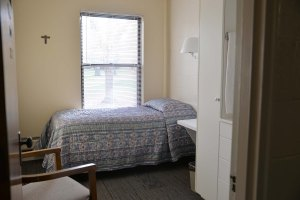 This is one of the standard bedrooms in the Arrupe Retreat House. There are 52 total in the building.
