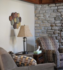The main lounge includes a gas fireplace.