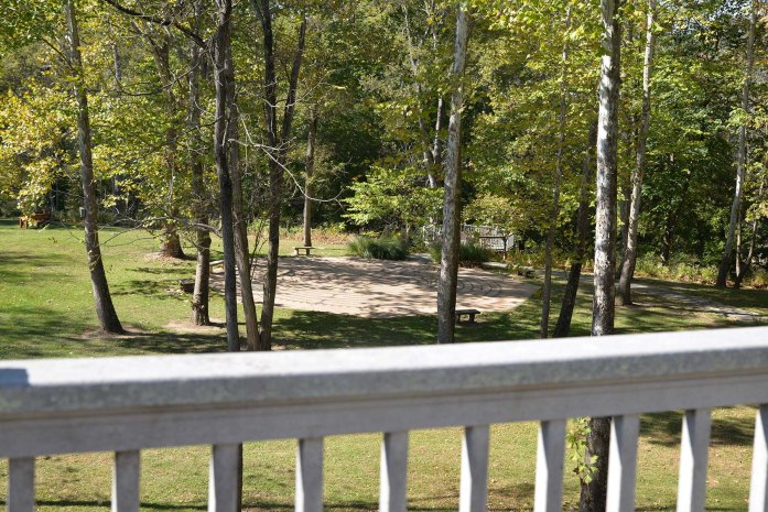 A view of the labyrinth and river overlook from the deck.