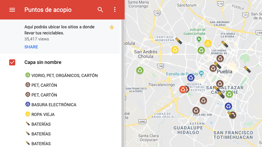 Places around Puebla City for recycling.