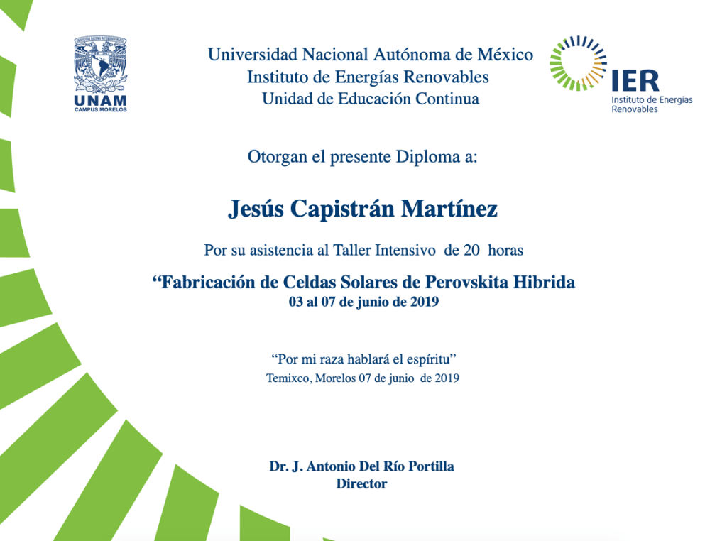 Diploma - Development of Hybrid Perovskite Solar Cells - IER-UNAM, June 2019.