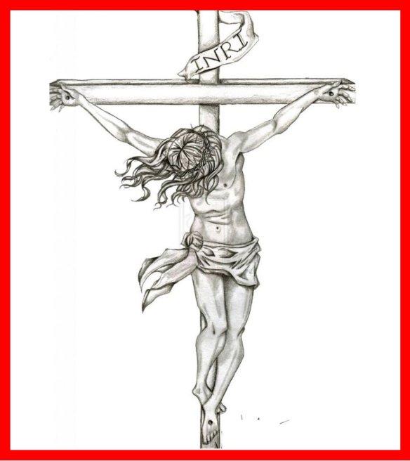 jesus en la cruz dibujo a lapiz
