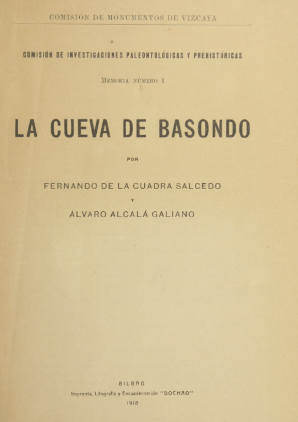 Portada del monográfico de la Comisión dedicado al descubrimiento de las cuevas de Basondo