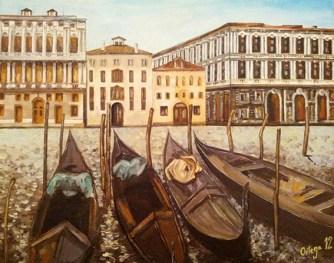 """""""Palacios venecianos"""". Óleo sobre tabla, 33 x 40 cm."""