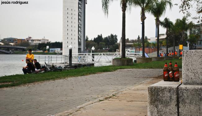 Botellas de cerveza vacías en el Jardín Americano de Sevilla