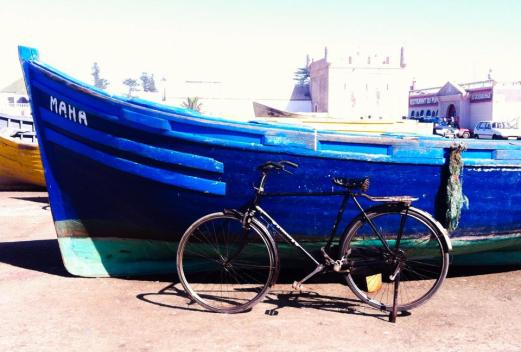 bike and blue boat, Essaouira, Morocco