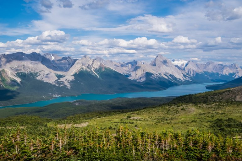 Views of Maligne Lake from Bald Hills hike - Jasper National Park, Canadian Rockies itinerary
