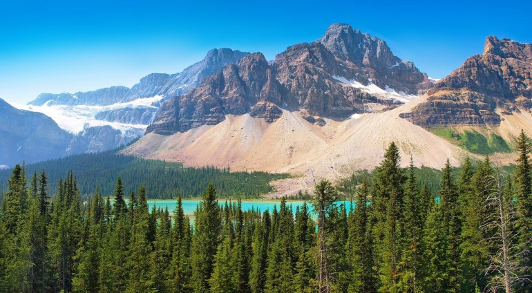 A photograph of pine trees in front of a turquoise lake that is in front of some rocky mountains.