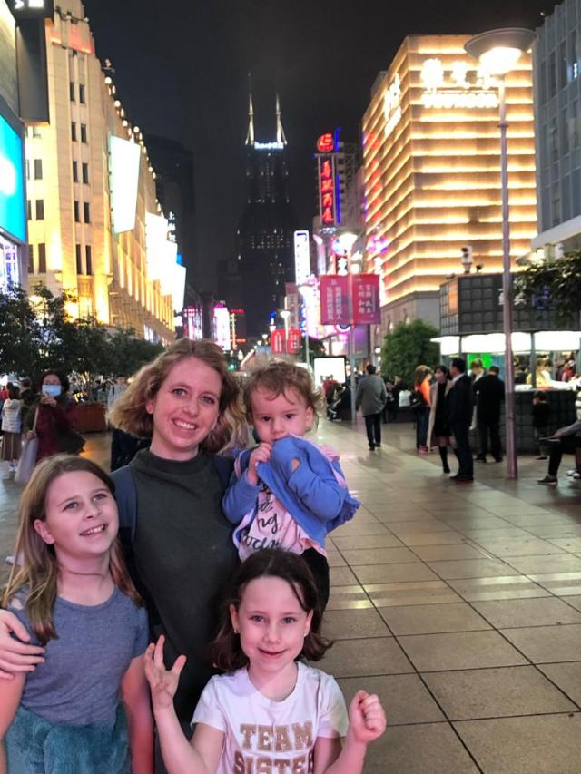 Night time at Shanghai with kids.
