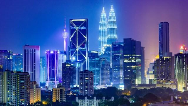 Night skyline of Kuala Lumpur, Malaysia.