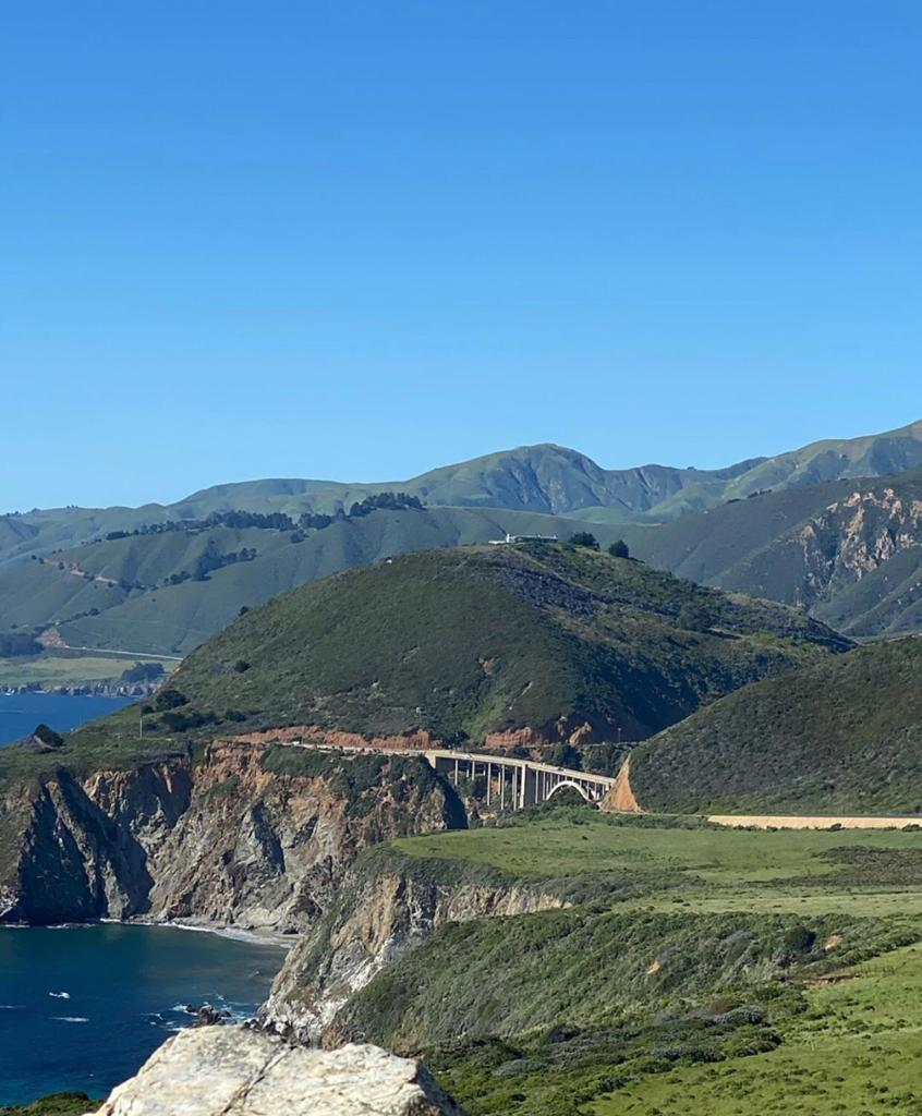 Big Sur on the Pacific Coast Highway with Bixby Creek Falls in the distance
