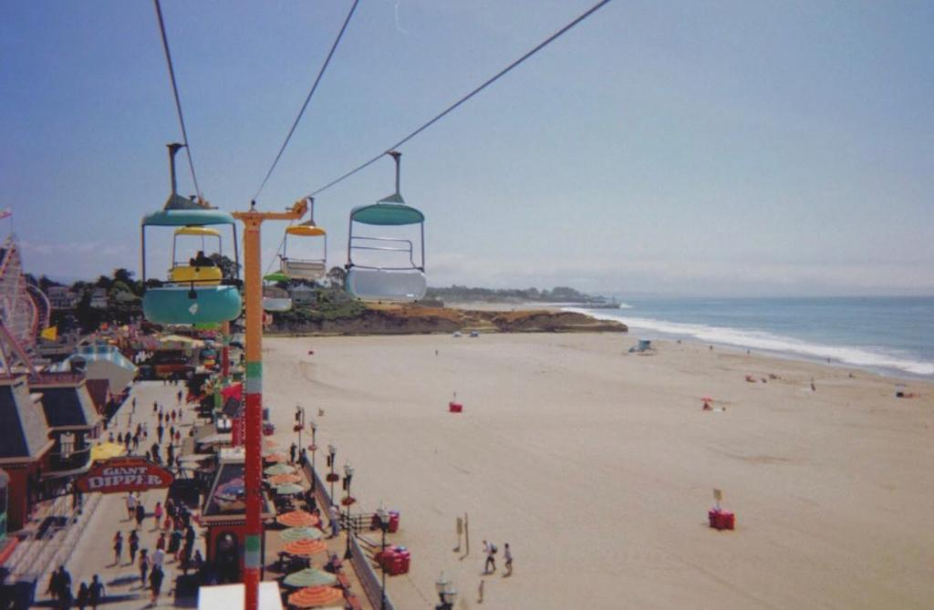 Colorful Chair lifts over the Santa Cruise Beach. Top road trip destination to stop along the Pacific Coast Highway.