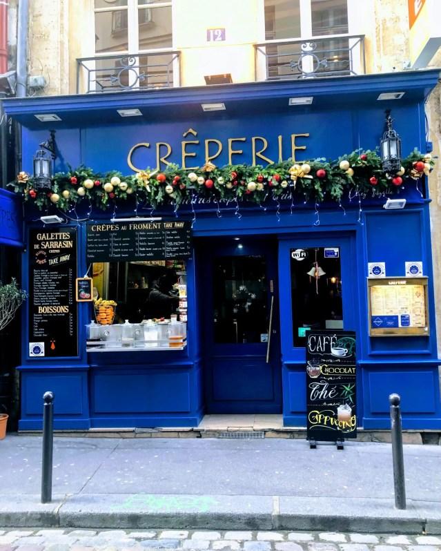 Blue Creperie in Latin Quarter Paris. Virtual vacation to Paris