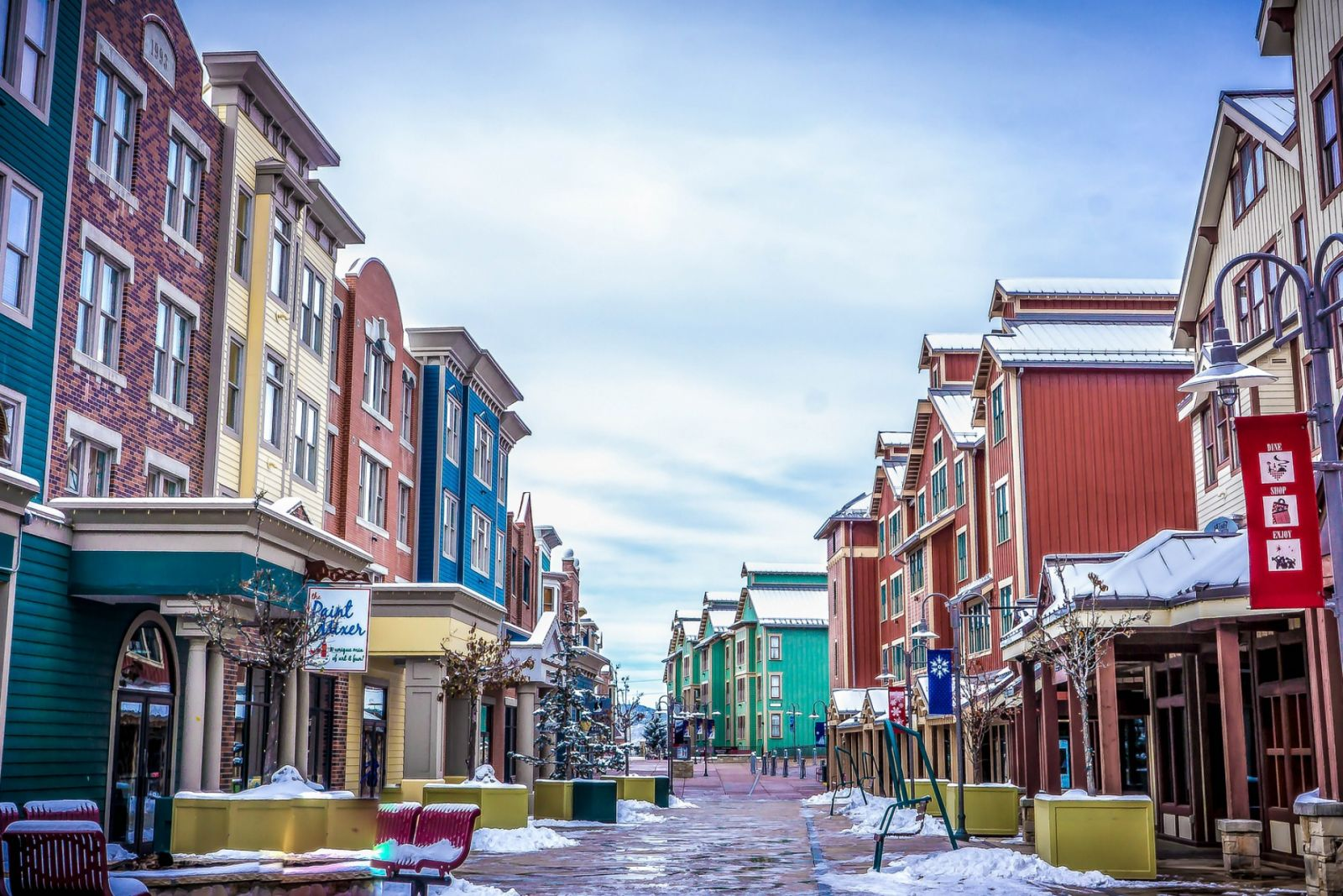 Colorful buildings lining Main Street Park City