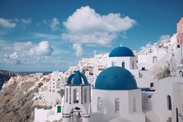 The Cyclades in Greece, white and blue buildings