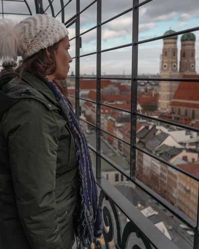 Me at St. Peter's Tower looking over Munich one of my favorite Munich photo spots