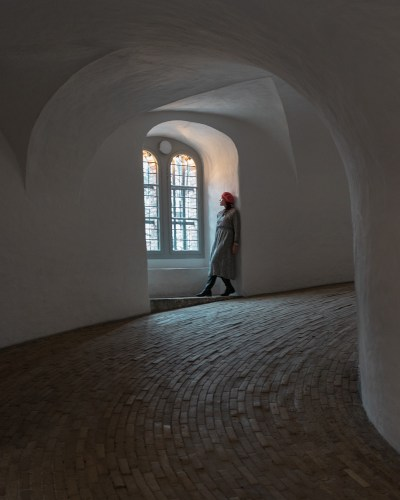 Me looking out the window at the Round Tower in Copenhagen