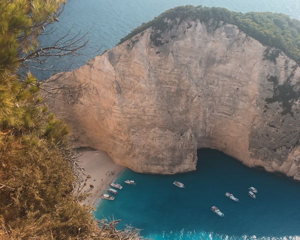 Aerial view of Shipwreck Beach one of the best things to do in Zakynthos.