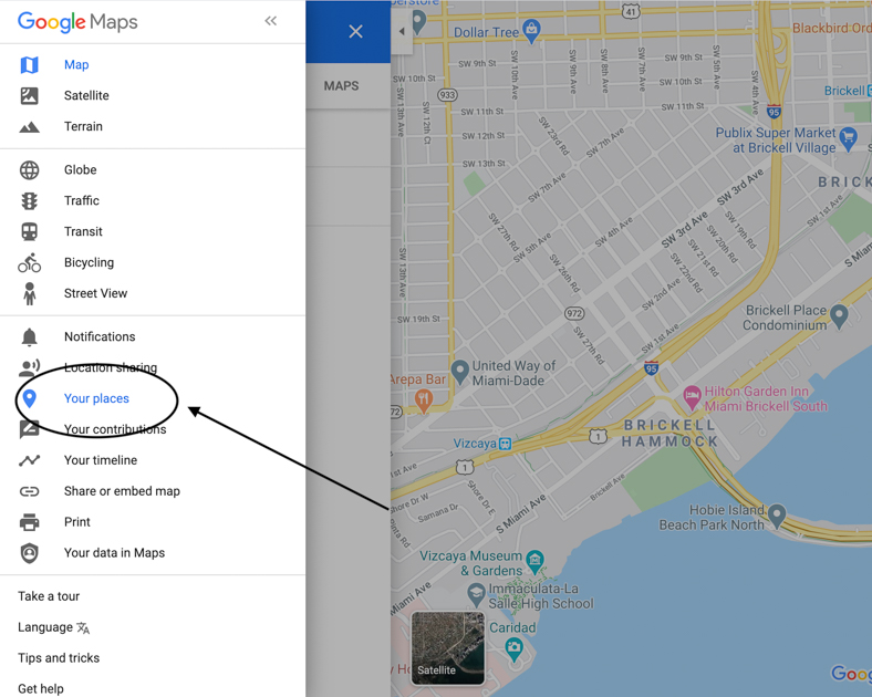 "Google Map with an arrow pointing to ""Your Places."""
