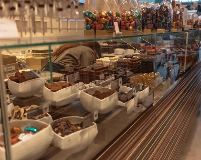 The chocolate display at Leonidas