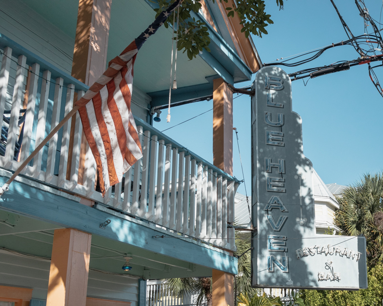 Picture of the Blue Heaven sign one of the best places to eat in Key West.