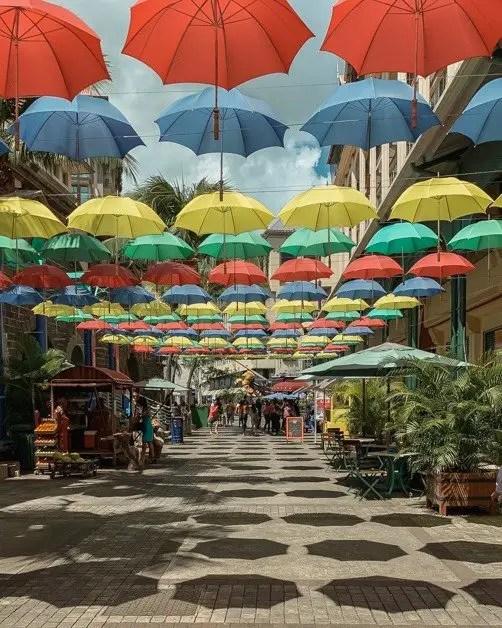 Picture of colorful umbrellas in Port Louis in Mauritius
