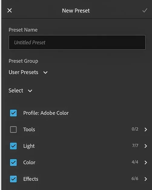Picture of page on naming preset.