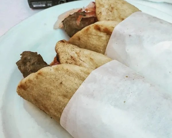 two gyro pitas on a plate