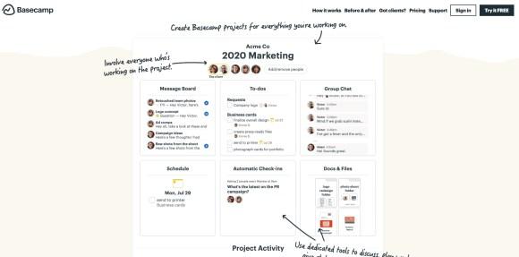Basecamp homepage