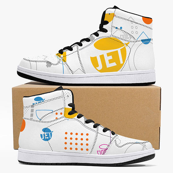 Print On Demand High-Top Leather Sneakers - Black