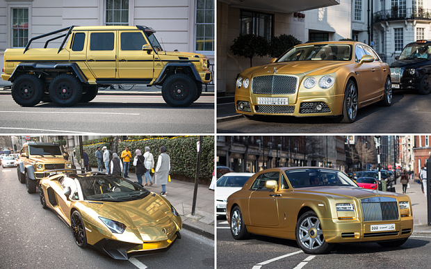 Golden cars seen on the streets of Kensington Photo: SWNS