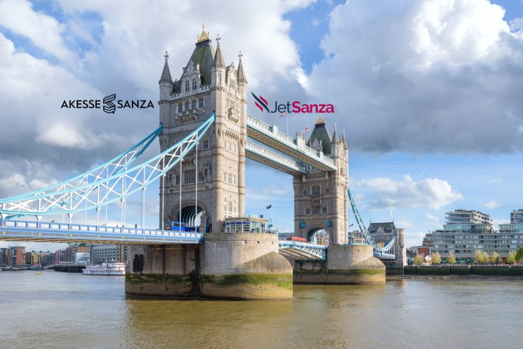 View of Tower Bridge, bascule and suspension bridge in London, UK