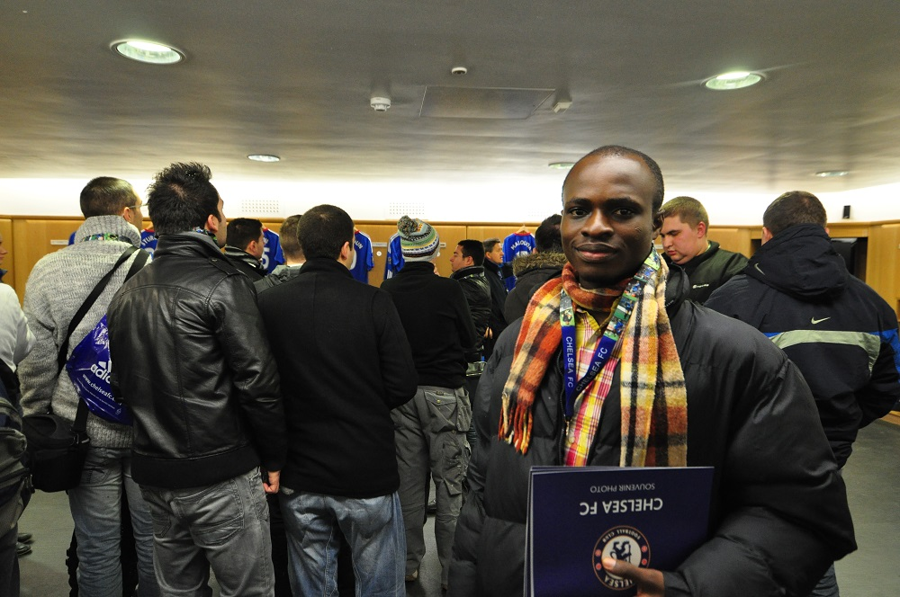 Akesse Sanza at the Dressing Room of Chelsea FC