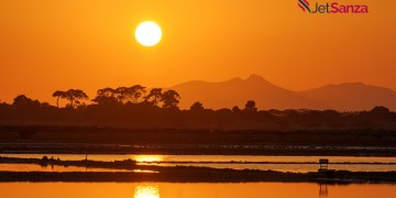 sunset at the saltpans of Trapani