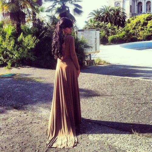 Camel long dress