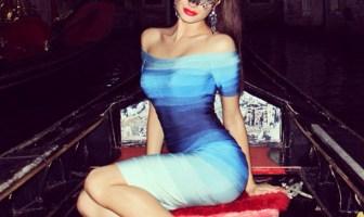 Herve Leger Blue Rainbow Dress