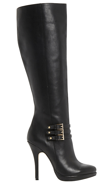 Dune Sorenity Stiletto Heel Buckle Knee High Boots, Black