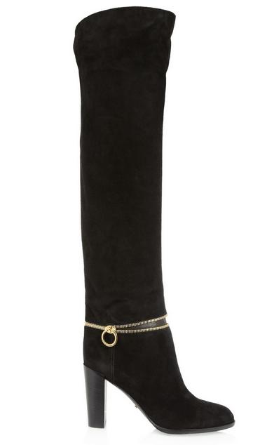 SERGIO ROSSI Zip-detailed suede knee boots