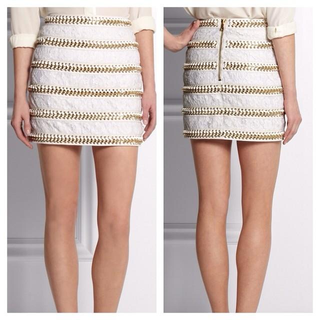Balmain Lace & Leather Skirt