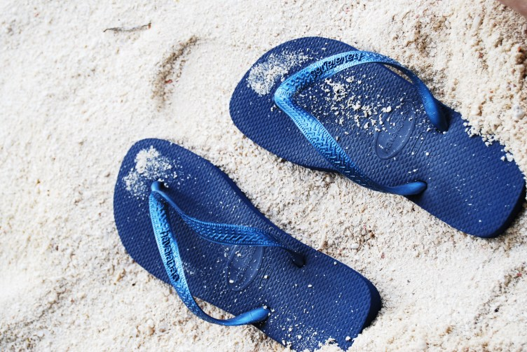 havaiana slippers in the sand Maldives