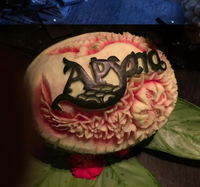 Fruit carvings, Apsara cruise, Bangkok, Thailand
