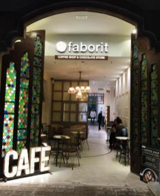 Cafe Faborit Amatller Hot Chocolate Barcelona interior lighting coloured glass