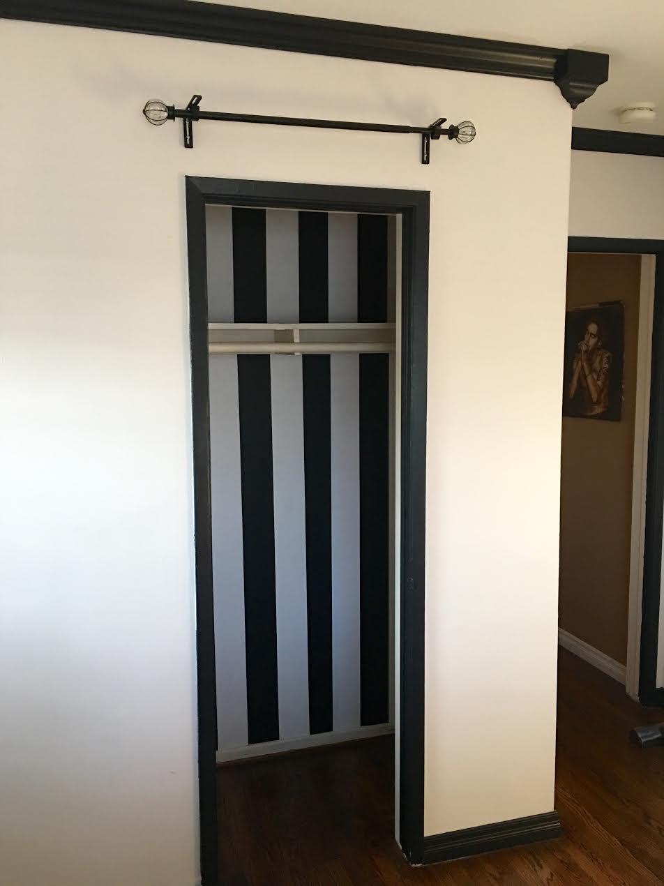Stripe Wallpaper Inside Closet Before Paint Emily Meritt