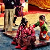 Bhutanese children at the temple