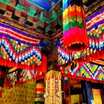 Colorful decor inside the Buddhist shrine
